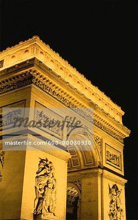 Arc de Triomphe at Night Paris, France