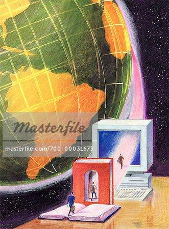 Illustration de personnes marchant à travers les livres en informatique dans l'espace avec Globe
