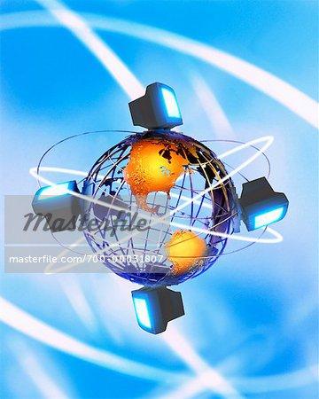 Ordinateurs qui entoure le Globe Amérique du Nord et du Sud