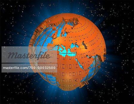 Binary Code Covering Globe, Europe and Africa