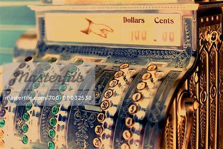 Close-Up of Antique Cash Register