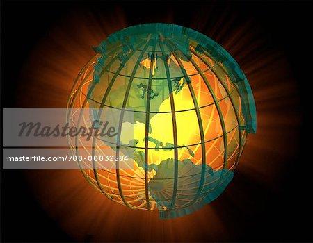 Wire Globe North and South America