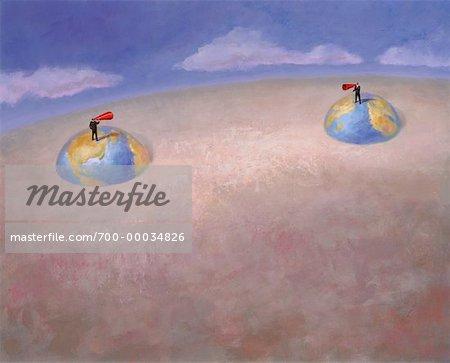 Illustration des hommes d'affaires permanent sur les Globes avec mégaphones