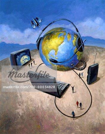 Illustration de la télévision, ordinateur portable et Radio connecté à Globe