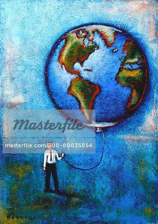 Illustration of Businessman Holding Globe Balloon