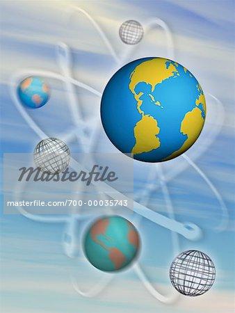 Globes et sphères de fil vers le Nord et l'Amérique du Sud
