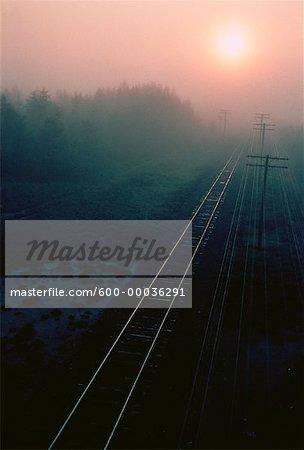 Railroad Tracks at Sunset Near Spanish, Ontario, Canada