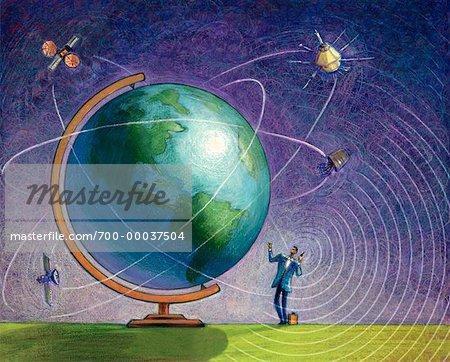 Illustration de l'homme d'affaires à l'aide de téléphone près de Globe Amérique du Nord et du Sud