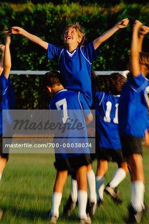 Boys Soccer Team Celebrating