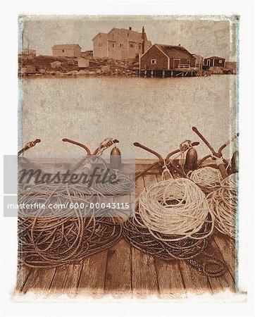 Ancres de Dock Peggy Cove, Nouvelle-Écosse, Canada