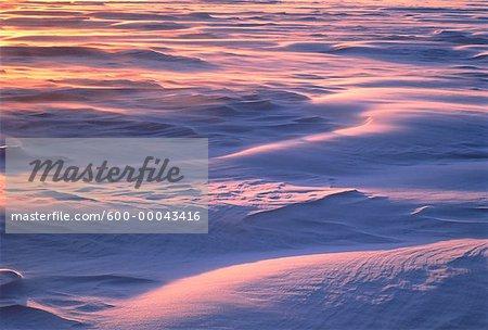 Snowdrifts at Sunset Ottawa River, Ontario, Canada