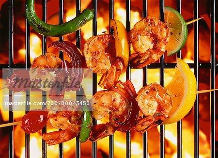 Shrimp Kebabs on Barbecue