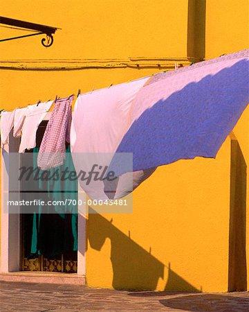 Laundry on Clothesline, Island of Burano, Venetian Lagoon, Italy