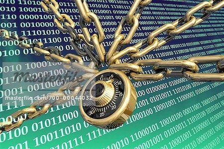 Cadenas à combinaison avec chaînes et Code binaire