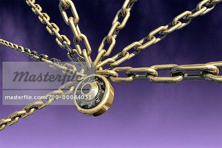 Cadenas à combinaison avec chaînes