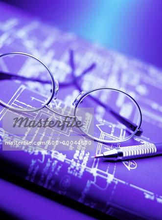 Eyeglasses and Blueprints