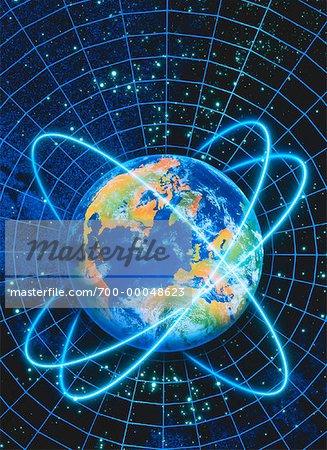 Globe avec anneaux sur la grille