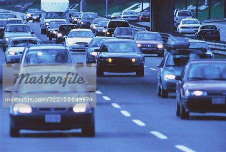 Highway Traffic Gardiner Expressway Toronto, Ontario, Canada