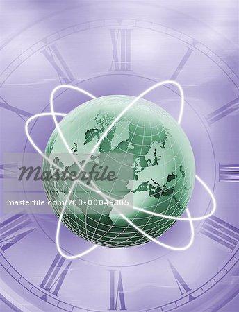 Globe with Rings on Clock Atlantic Ocean