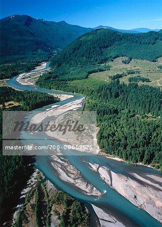 Vue aérienne du Parc National de Cowlitz River Mount Rainer Packwood, Washington, Etats-Unis