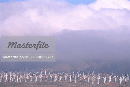 Wind Turbines and Fog California, USA