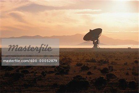 Radio Telescope in Misty Landscape, New Mexico, USA