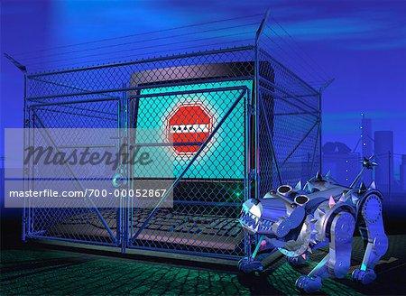 Ordinateur clôturée avec Robot chien de garde de nuit