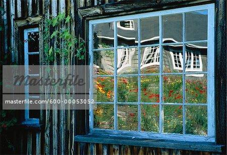 Reflections in Barn Window, Shamper's Bluff, New Brunswick, Canada