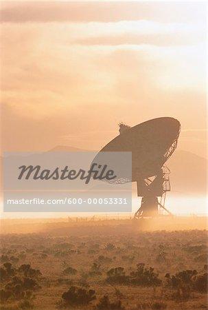 Radio Telescope and Mist at Sunrise, New Mexico, USA