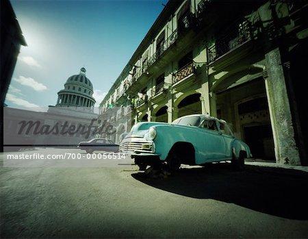 Abandoned Car near Building Havana, Cuba