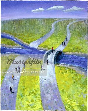 Illustration of People Crossing River on Bridge