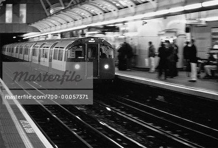 Subway Entering Station London, England
