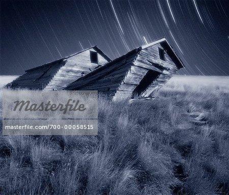 Star Trails and Tilted Barn near Grasslands National Park Saskatchewan, Canada