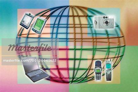 Draht-Globus mit Kamera, Handys, Elektronische Organisatoren und Laptop-Computer