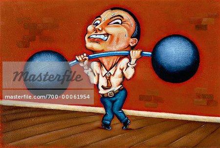 Illustration of Businessman Lifting Barbell