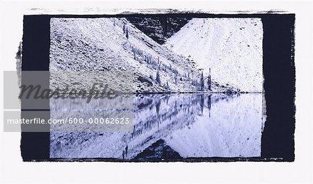 Chute de neige sur les éboulis talus, Moraine Lake, Banff National Park, Alberta, Canada