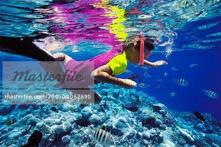 Underwater View of Boy Snorkeling Palau, Micronesia