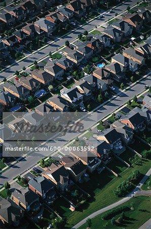 Aerial View of Residential Area, Brampton, Ontario, Canada