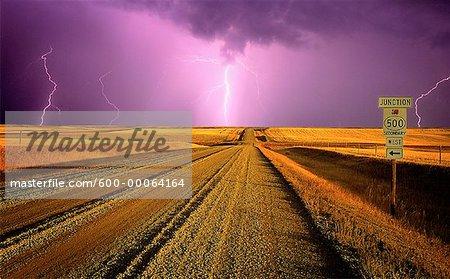 Foudre sur le chemin de terre et le paysage, à proximité de la rivière Milk, Southern Alberta, Canada