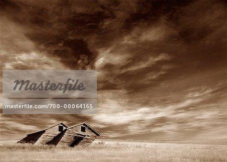 Tilted Barn near Grasslands National Park Saskatchewan, Canada