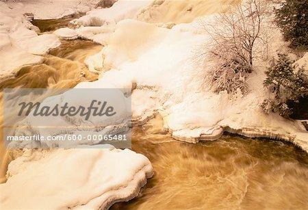 Snow Covered Landscape and Stream, Chutes de Plaisance, Riviere Petite Nation, Quebec, Canada