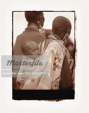 Two Masai Women with Child Kenya, Africa
