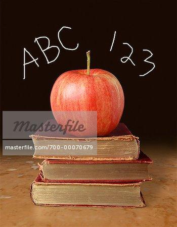 Apple Stapel Bücher mit ABC und 123
