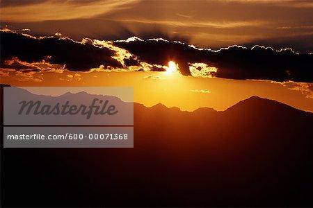 Coucher de soleil sur les Sierras, Californie, USA