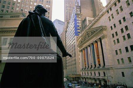Statue de George Washington et New York Stock Exchange New York, New York, USA