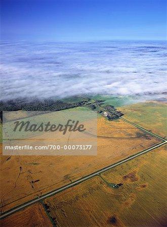 Vue aérienne des terres agricoles et routiers Beausejour, Manitoba, Canada