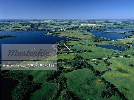 Vue aérienne du paysage Sandy Lake, Manitoba, Canada