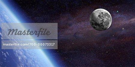 La lune sur la terre dans l'espace
