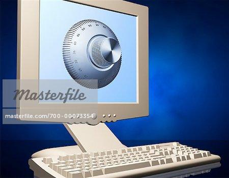 Ordinateur avec moniteur à écran plat et serrure à combinaison à l'écran