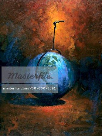 Illustration of Businessman Sitting on Top of Globe, Looking Through Telescope